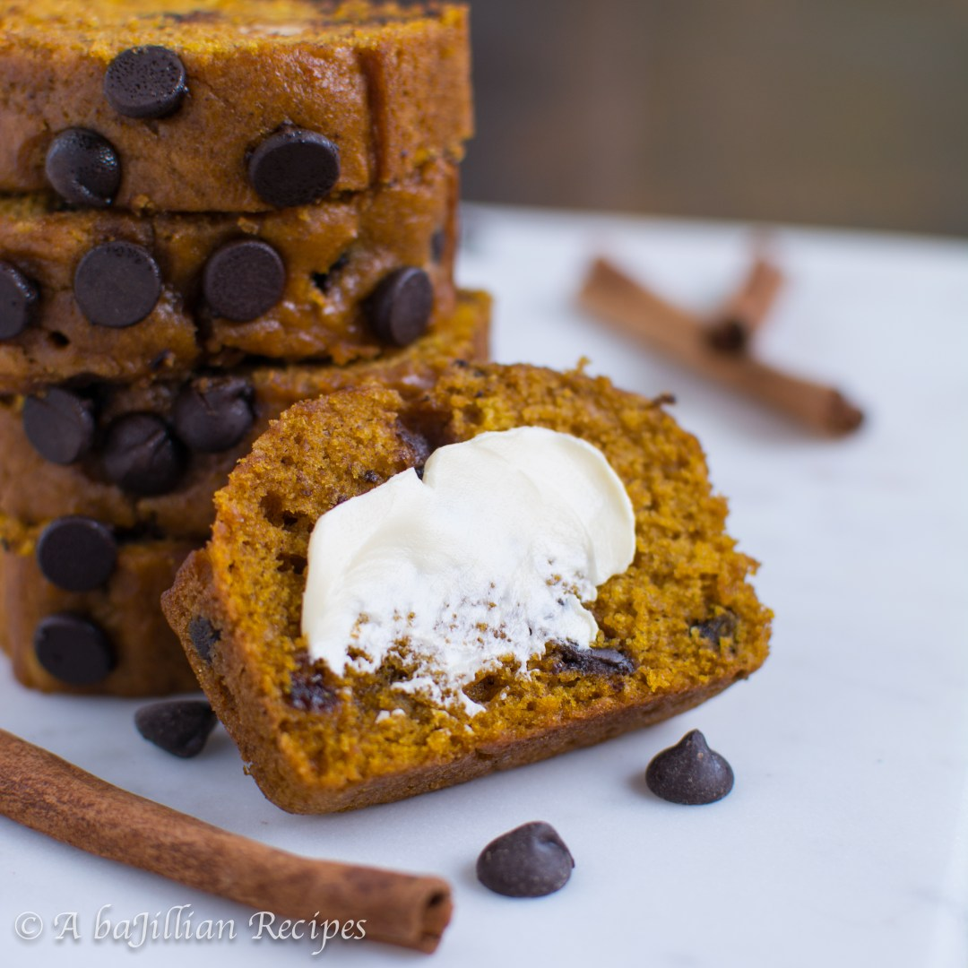 Incredibly moist and flavorful pumpkin bread loaded with chocolate chips! Great Harvest Bread Company ain't got nuttin' on this bread!