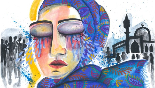 An illustration shows a woman wearing a blue headscarf, tears streaming down her face.