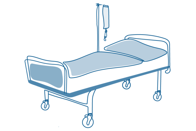 An illustration of a hospital bed.
