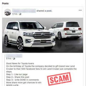Fake Toyota Facebook page offering free cars