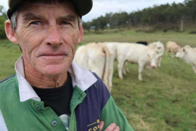 Country jockey Robert Thompson on his cattle farm in Cessnock, NSW.