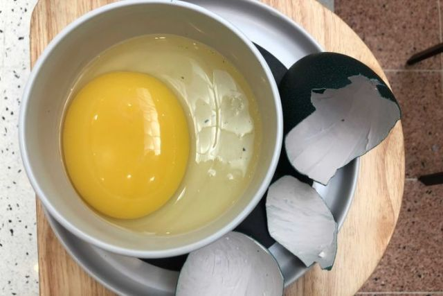 An emu egg is cracked into a bowl.