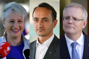 A composite image of Kerryn Phelps, Dave Sharma and Scott Morrison.