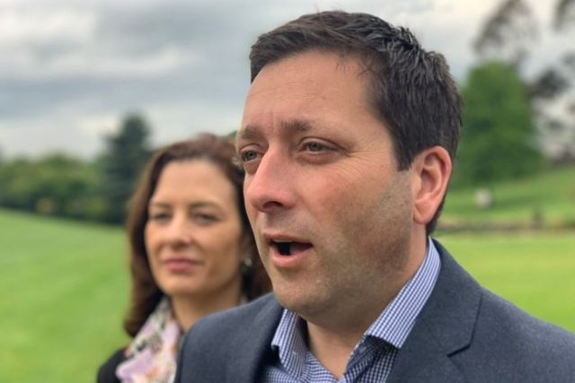 Opposition Leader Matthew Guy campaigns in Drouin.