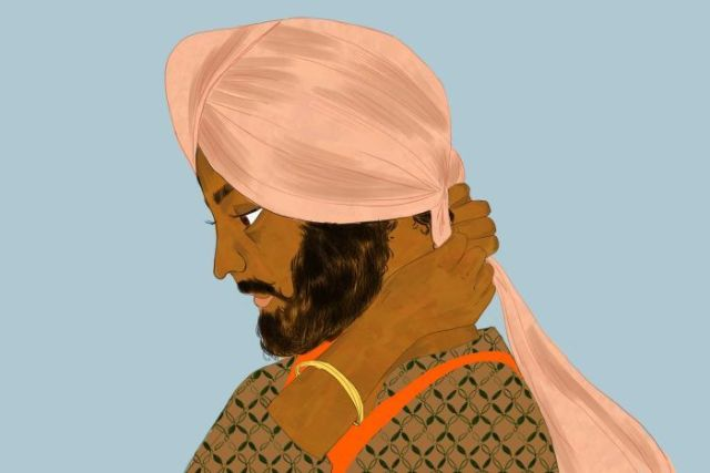 Illustration of young Sikh man tying a light pink turban at the back of his head.