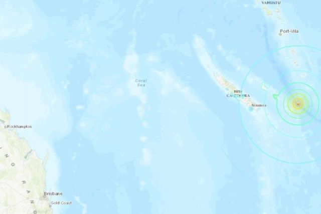 A map shows an earthquake that hit off the New Caledonian coast, with concentric circles showing its spread.