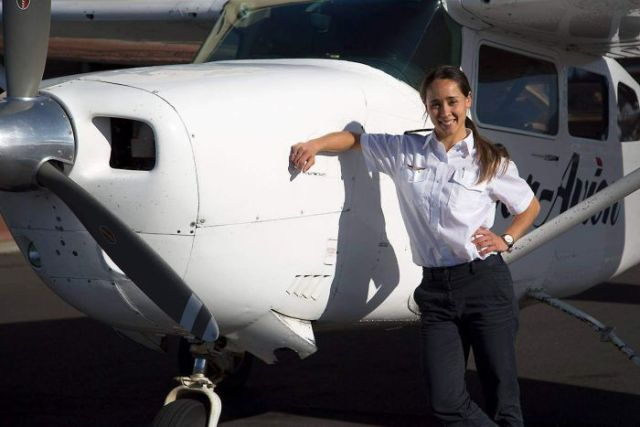 Nikita Walker, pilot with Par Avion, promotional photo.