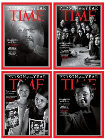 "Four Time magazine covers mocked up in a composite. The covers depict ""The Guardians and the War on Truth""."