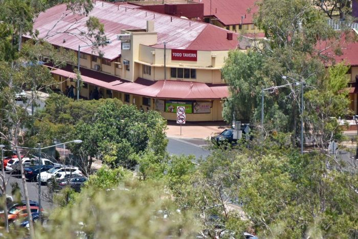 The Todd Tavern in Alice Springs as seen from a hill.