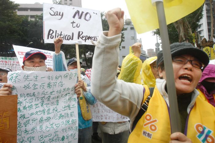 Protesters to demand tax reform outside of Ministry of Finance in Taipei, Taiwan.