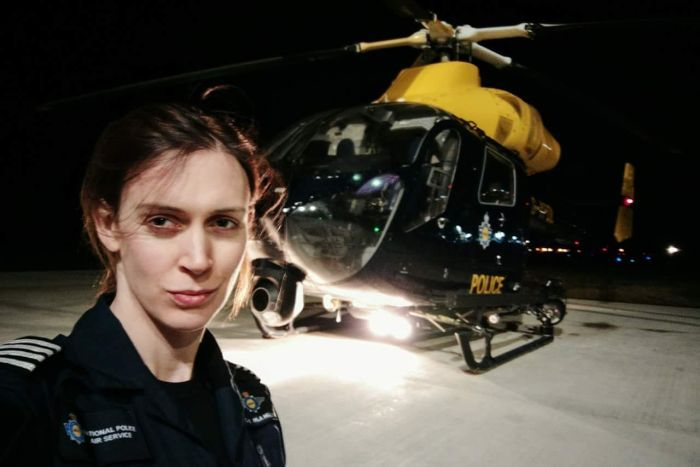 Ayla Holdom in front of her police helicopter