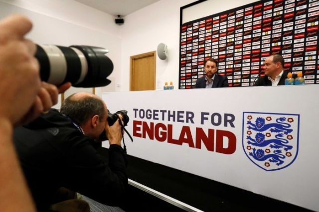 England manager Gareth Southgate (L) during a press conference on March 15, 2018.