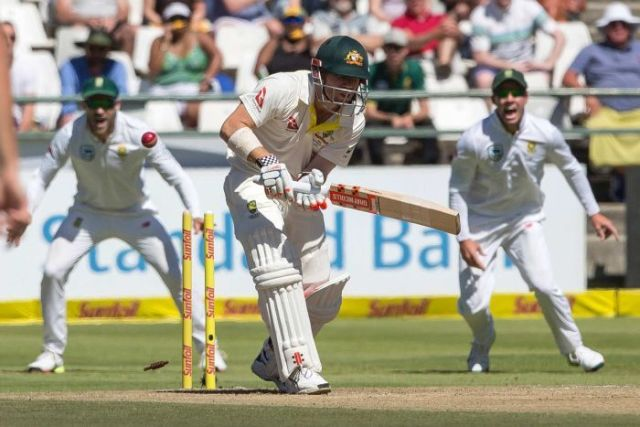David Warner is bowled by Kagiso Rabada on day two of the third Test in Cape Town.