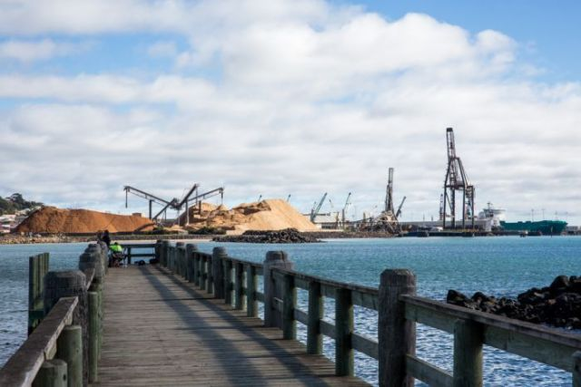 Cranes and woodchip piles at Burnie port