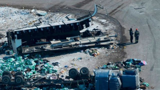 The Canadian bus carrying a junior hockey team collided with a truck.