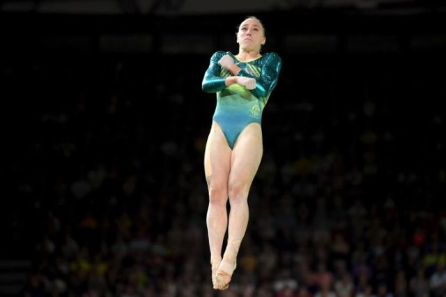Emily Whitehead of Australia in action on the vault.