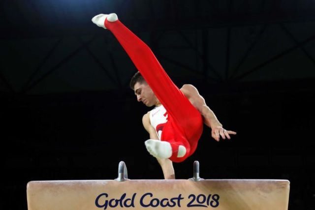 Max Whitlock on the pommel horse.