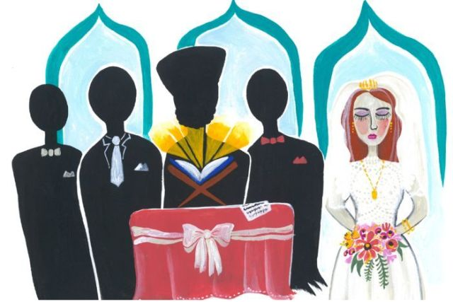 An illustration shows a bride and four men in formal dress at a mosque.