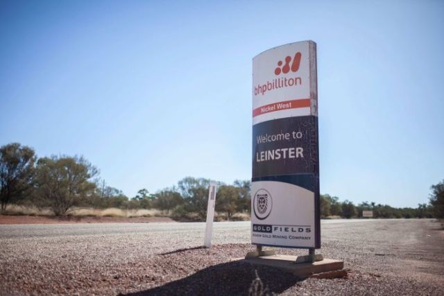 A BHP sign at the entrance of Leinster, WA.
