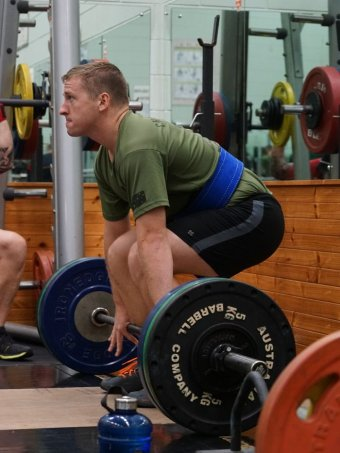 Brett Humphrey deadlifts at the Soldier Recovery Centre.