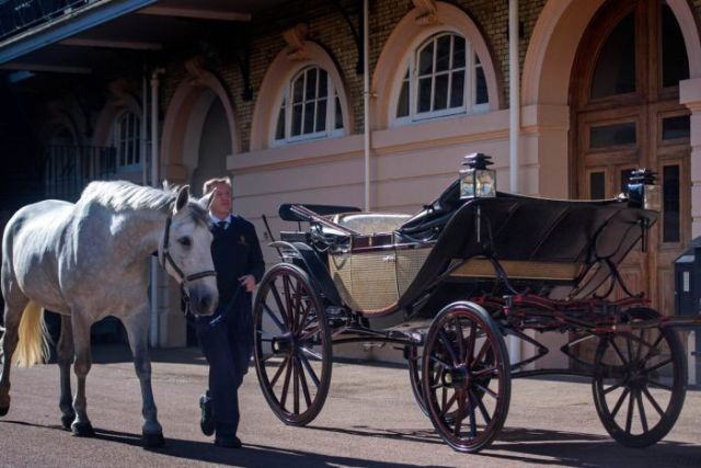 The Ascot Landau carriage for the royal wedding procession through Windsor Town.