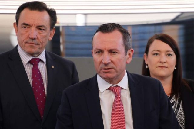 Housing Minister Peter Tinley, Premier Mark McGowan and Joondalup MP Emily Hamilton at a press conference.