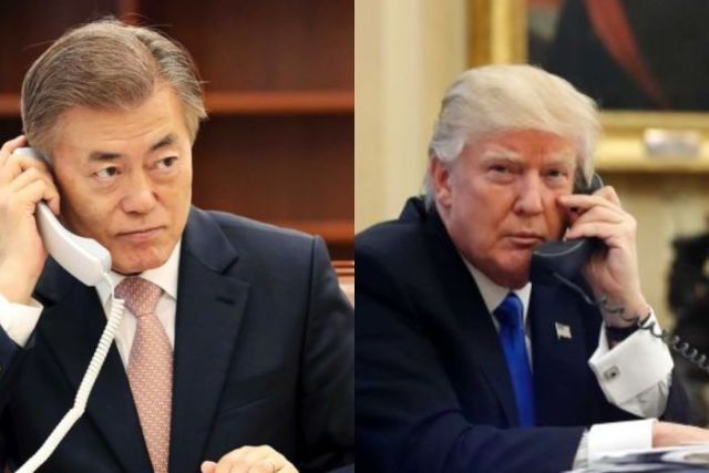Moon Jae-in and Donald Trump both on the phone