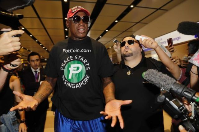 Former NBA basketball player Dennis Rodman arrives in Singapore ahead of the summit.