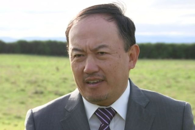 Developer Ronald Hu on the site where he wants to build a large resort near Swansea in Tasmania
