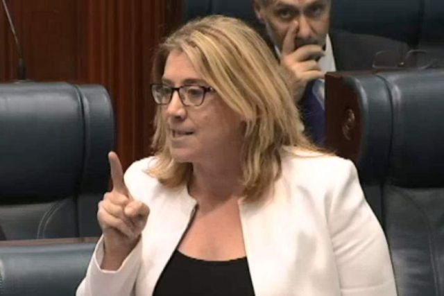 Rita Saffioti in glasses, a white jacket and a black top speaks in the Legislative Assembly while pointing a finger.