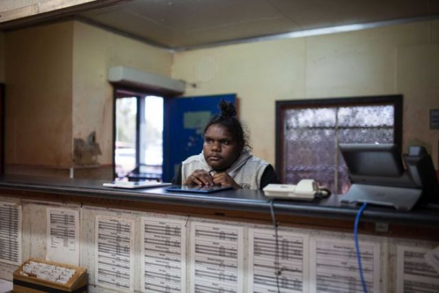 Warburton, WA, local Janita Ulah waits to be served at the Centrelink office.