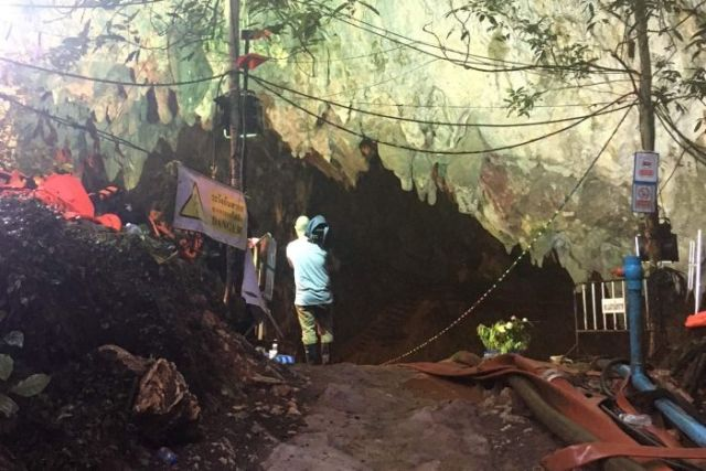 Media shown the operation area and were given access to the cave before more rain forced them to leave.