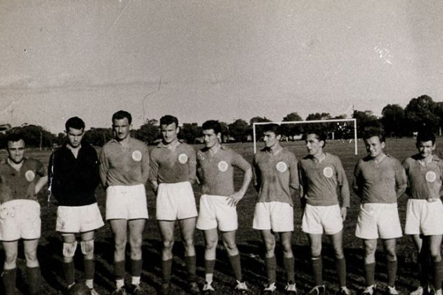 Players from first Melbourne Knights soccer team, then known as Croatia Soccer Club, taken in 1953.