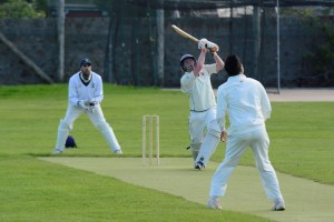 Mapplebeck launches a 6 on his way to 71 not out