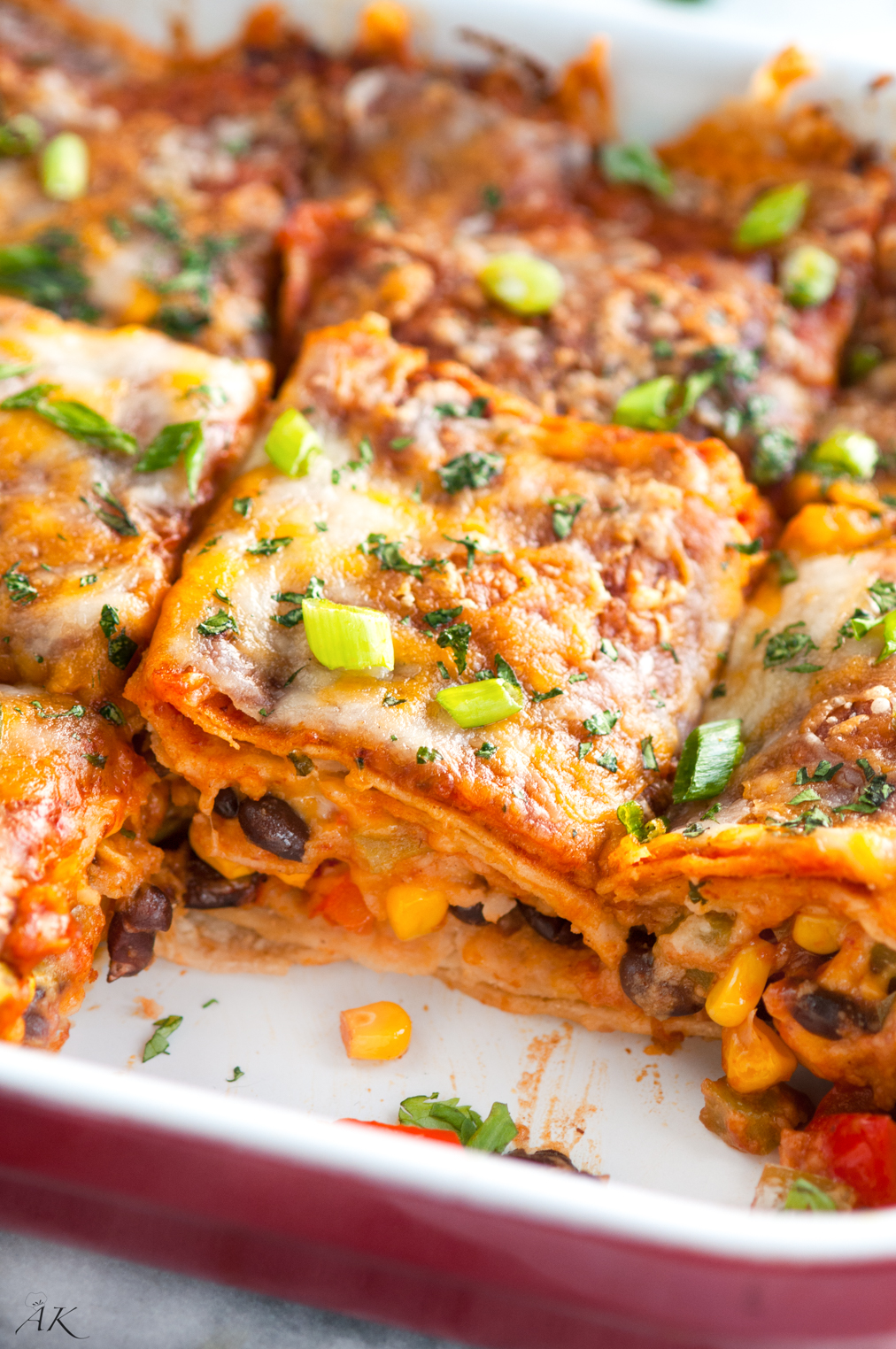 Vegetarian Black Bean Enchilada Casserole - Aberdeen's Kitchen