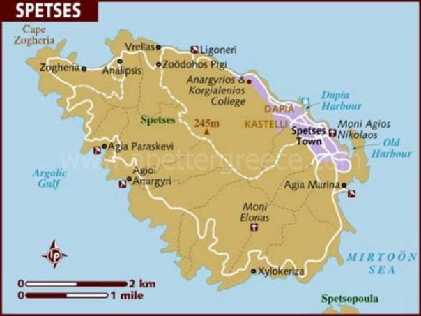 map of Spetses, Greece