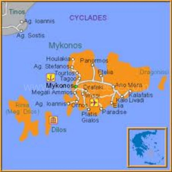 map of Mykonos and Delos, Greece