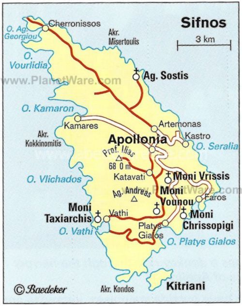 map of Sifnos, Cyclades, Greece