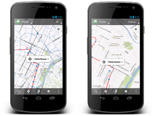 Left: Mobile map with all modes of public transit shown; Right: Transit Lines layer in Subway mode