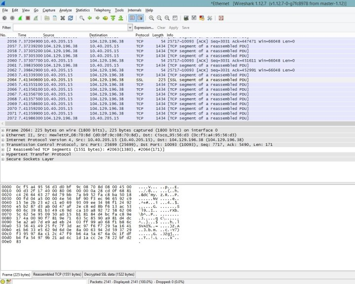 a picture showing normal ssl packet details captured by wireshark