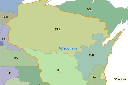 Map Of Wisconsin Area - Wisconsin area code map