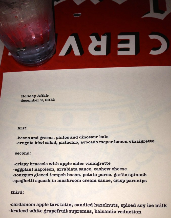 holiday menu at Sauced
