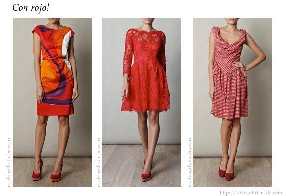 Zapatos rojos combinados con prendas en color rojo