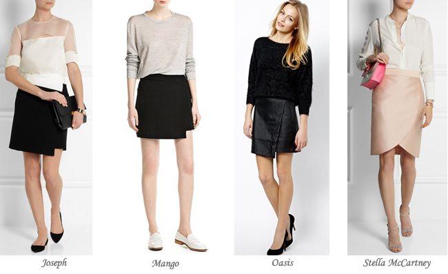 Moda en faldas, faldas cruzadas...