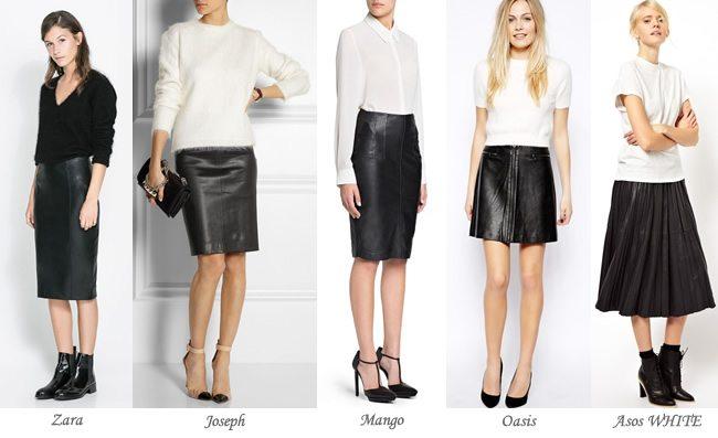 Estilos de faldas: Faldas de cuero, o de efecto cuero
