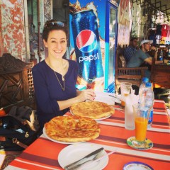Having a yummy lunch outside the Khan el Khalili bazaar.