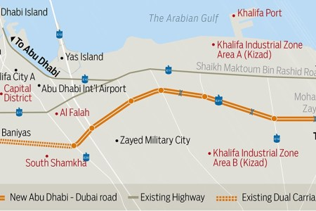 dubai abudhabi new highway map