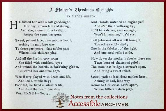 A Mother's Christmas Thoughts - Godey's Lady's Book - December 1891
