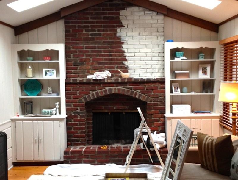 Large Of Whitewash Brick Fireplace