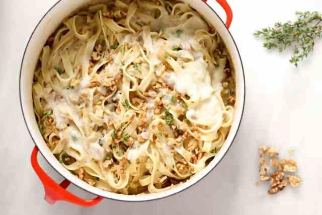 Creamy Cauliflower Fettuccini with Walnuts and Caramelized Onions